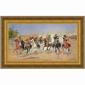 A Dash for the Timber, 1889: Canvas Replica Painting: Medium