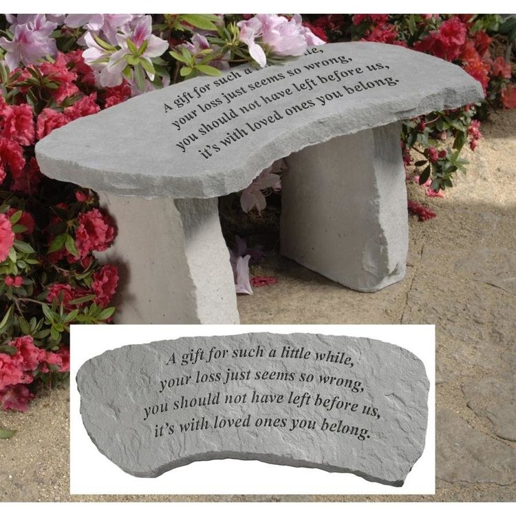 View larger image of A Gift Cast Stone Memorial Garden Bench