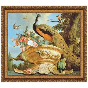 A Peacock on a Decorative Urn, Canvas Replica Painting: Grande