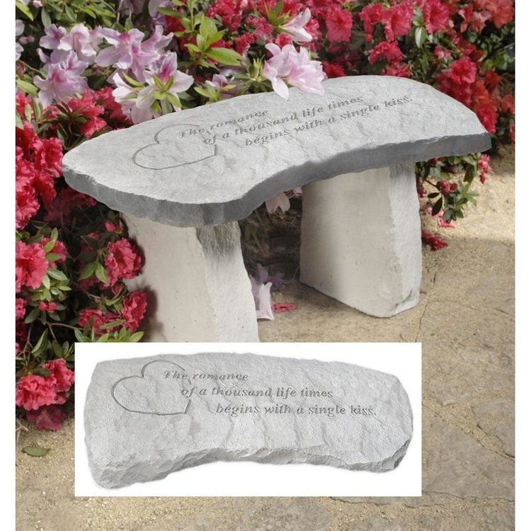 View larger image of A Single Kiss Cast Stone Memorial Garden Bench