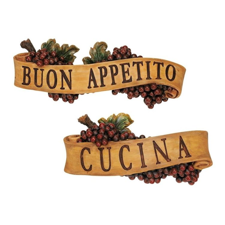 View larger image of Abbondanza Sculptural Wall Plaque Collection: Set of Buon Appetito & Cucina