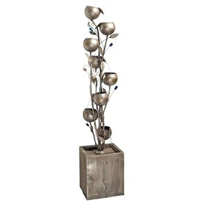 Abstract Floral Cascading Metal Tower Fountain