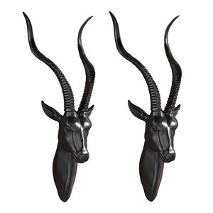 African Antelope Wall Mounted Trophy Statue: Set of Two