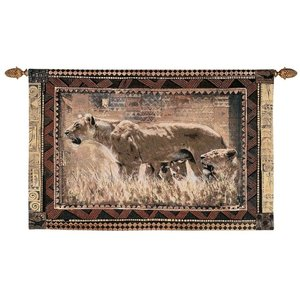 African Wildlife Protecting Her Cubs Wall Tapestry