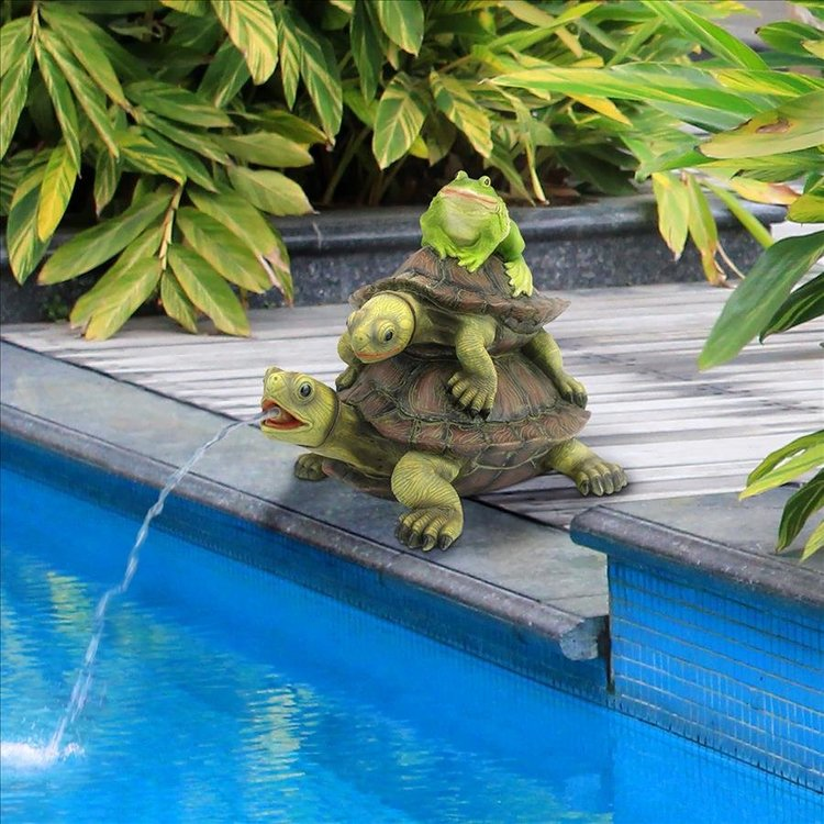 View larger image of Along for the Ride, Frog and Turtles Spitter Piped Statue