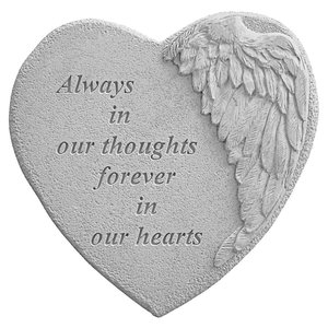 Always in Our Thoughts Angel Wing Cast Stone Memorial Marker