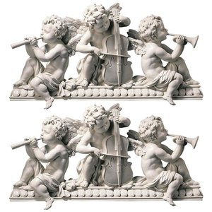 Angelic Notes Sculptural Wall Pediment: Set of Two