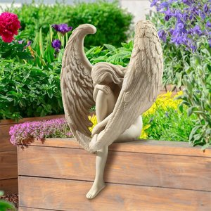 Anguished Angel Long-Winged Sitting Statue