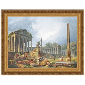 Architectural Capriccio with Obelisk, Canvas Replica Painting: Large