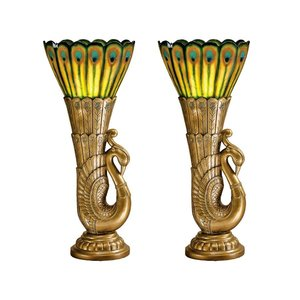 Art Deco Peacock Sculptural Table Lamp: Set of Two