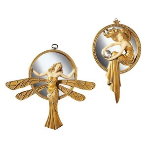 Art Deco Wall Mirrors: Set of Dragonfly & Lady of the Lake