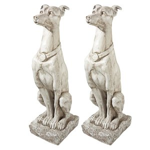 Art Deco Whippet Greyhound Sentinel Dog Statue: Set of Two