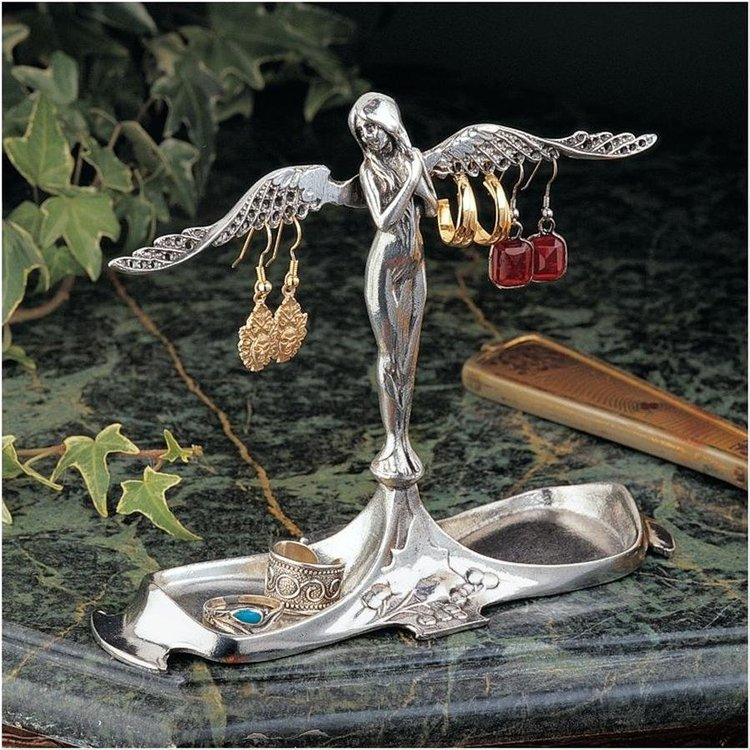 View larger image of Art Nouveau Angel-in-Waiting Italian Pewter Jewelry Holder