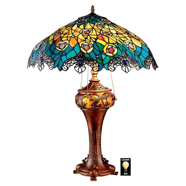 View larger image of Art Nouveau Peacock Tiffany Style Stained Glass Floor Lamp