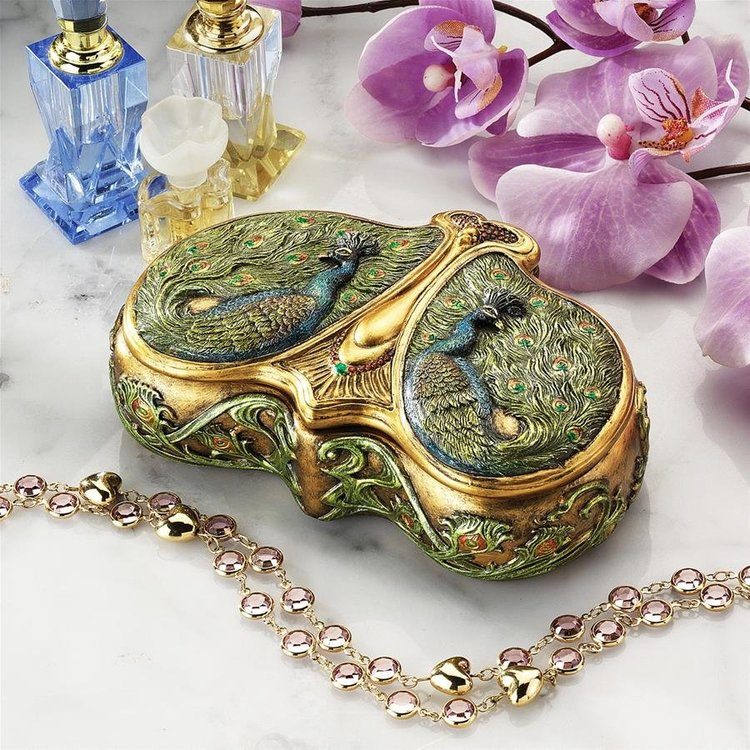 View larger image of Art Nouveau Twin Peacock Jewel Box