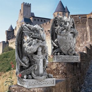 Arthurian Dragon Statues: Set of Two