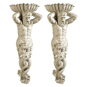 Atlantes, God of the Sea Wall Sculpture: Set of Two