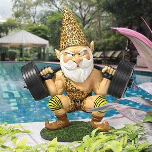 Atlas, the Athletic Weightlifting Gnome Statue: Set of Two