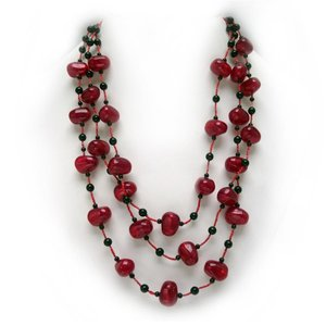 Awash in Crimson Jewelry Ensemble: Earrings & Necklace