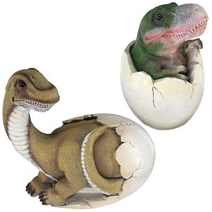 Baby Dinosaur Egg Hatchling Statues: Set of Two