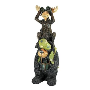 Back Woods Hunting Buddies, Moose and Bear Statue
