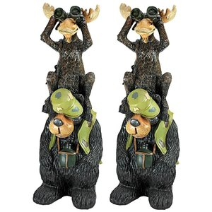 Back Woods Hunting Buddies, Moose and Bear Statue: Set of Two