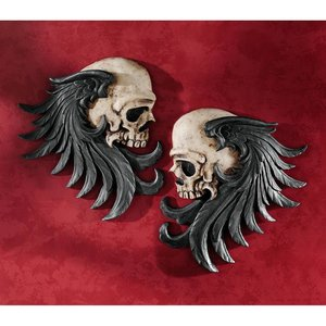 Bad to the Bones Winged Skull Sentinel Wall Sculptures: Set of Two