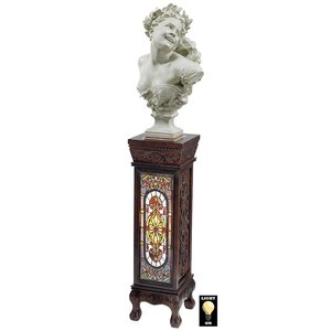 Baldwin Beaux-Arts Stained Glass Illuminated Hand-Crafted Pedestal