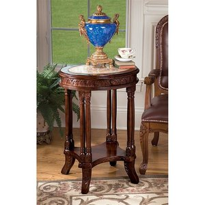 Balfour Colonnade Marble-Topped Hardwood Side Table