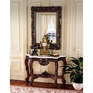 The Royal Baroque Marble-Topped Hardwood Console Table with Mirror