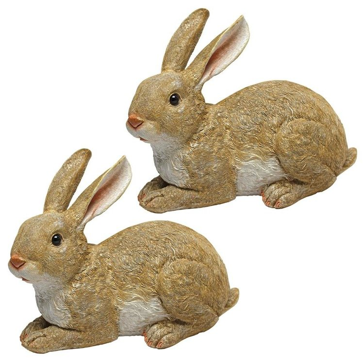 View larger image of Bashful, the Bunny, Lying Down Garden Rabbit Statue: Set of Two