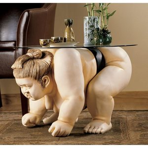 Basho the Sumo Wrestler Sculpture Glass-Topped Table