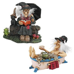 Bewitching Witches Statues: Book of Spells & Cauldron of Beauty
