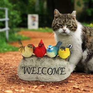Birdy Welcome Garden Stone Statue: Large