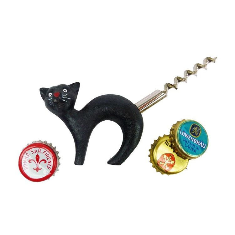 View larger image of Black Cat Bottle Opener with Corkscrew Tail: Set of Two