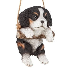 Black Cavalier Puppy on a Perch Hanging Dog Sculpture