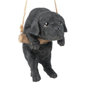 Black Lab Puppy on a Perch Hanging Dog Sculpture