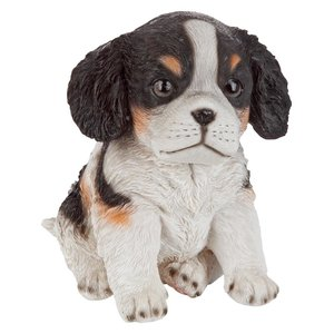 Black & White Cavalier King Charles Puppy Partner Collectible Dog Statue