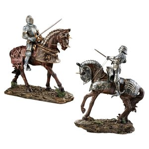 Knights of Blenheim Palace Sculptures: Red and Silver Knights