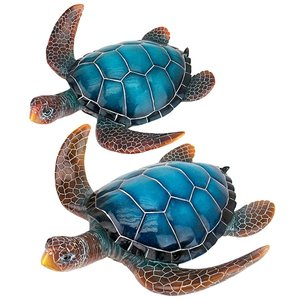 Blue Sea Turtle Statues: Set of Two