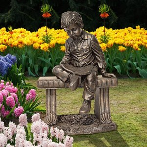 Bobby and His Book Boy on Bench Garden Statue