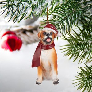 Boxer Holiday Dog Ornament Sculpture