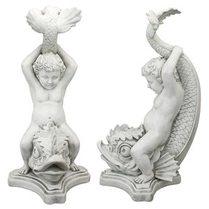 Boy on Dolphin Classical Garden Statue: Set of Two
