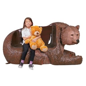 Brawny Grizzly Bear Bench Sculpture