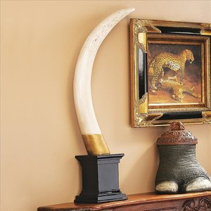 British Colonial Elephant Tusk Sculptural Trophy: Each