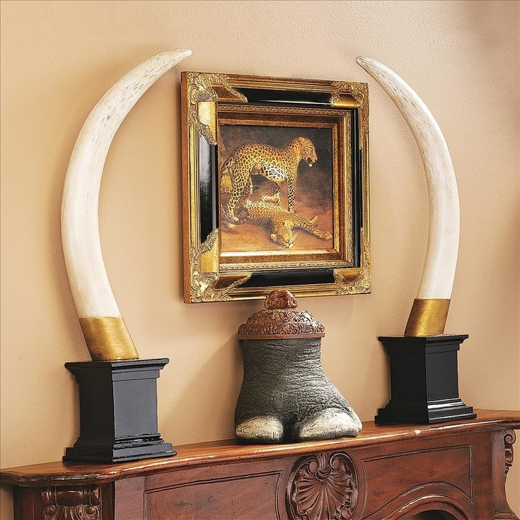 View larger image of British Colonial Elephant Tusk Sculptural Trophy: Set of Two