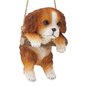 Brown Cavalier Puppy on a Perch Hanging Dog Sculpture