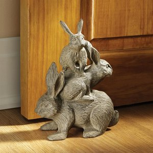 Bunched Bunnies Cast Iron Rabbit Statue