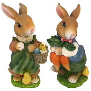 Bunny Hop Lane Mother and Father Rabbit Statues: Set of Two
