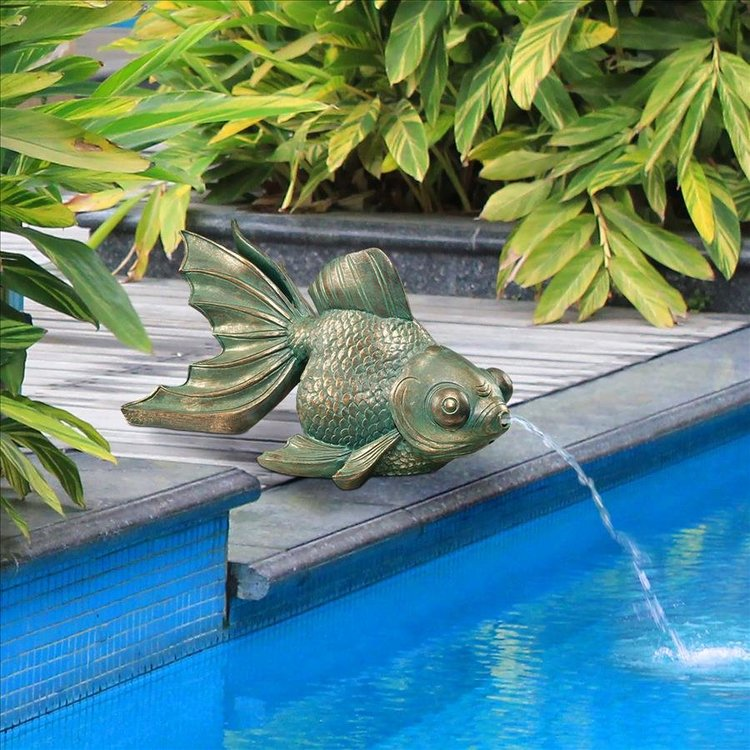 View larger image of Butterfly Asian Koi Piped Spitter Statue